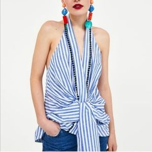 Zara Woman Striped Halter Top